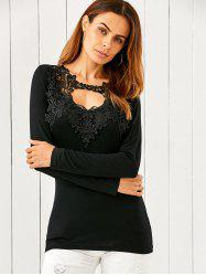 Lace Splicing Keyhole Fitted Long Sleeve T-Shirt -