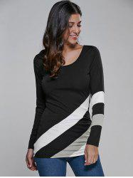 Color Block Long Sleeve Fitted T-Shirt