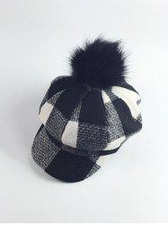 Retro Pom Ball Embellished Newsboy Hat - BLACK
