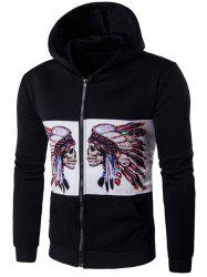 Hooded Zip Up Symmetrical Chief Skull Print Hoodie -