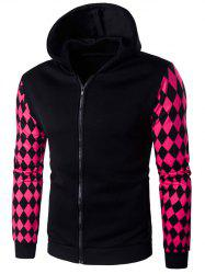 Hooded Zip-Up Argyle Print Hoodie