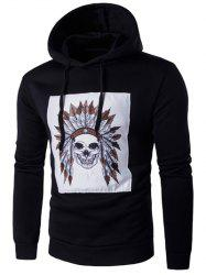 Hooded Indian Skull Print Long Sleeve Hoodie