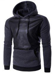 Hooded PU Leather Panel Raglan Sleeve Hoodie - DEEP GRAY