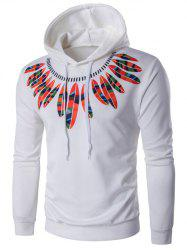 Hooded Color Block Feathers Print Long Sleeve Hoodie - WHITE 2XL