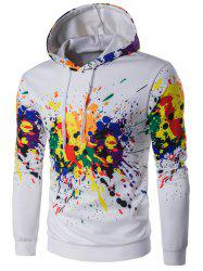 Hooded Colorful Splatter Paint Long Sleeve Hoodie