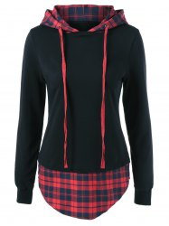Arc-Shaped Hem Plaid Hoodie -