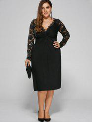 Plus Size Twist Front Formal Dress with Lace Sleeves - BLACK
