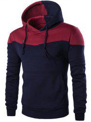 Contrast Color Drawstring Pullover Hoodie - CADETBLUE 2XL