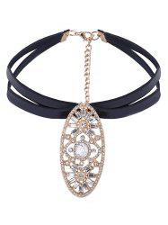 Embellished Oval Rhinestone Layered PU Leather Choker -