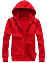 Hooded Zip-Up Long Sleeve Hoodie - RED