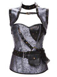 Gothic Faux Leather Belted Corset - GRAY