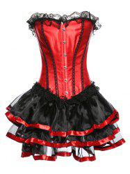 Strapless Layered Lace Spliced Corset - RED