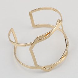 Geometric Hollow Out Statement Cuff Bracelet - GOLDEN