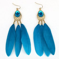 Faux Crystal Feather Embellished Drop Earrings