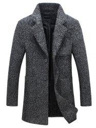 Front Pocket Single-Breasted Lapel Coat - DEEP GRAY