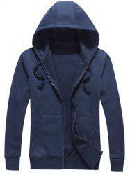 Zipped Pocket Fleece Warm Hoodie -