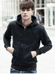 Zipped Pocket Fleece Warm Hoodie