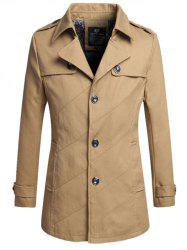 Lapel Buttoned Slim Trench Coat - KHAKI 4XL