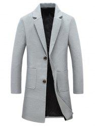 Pocket Single Breasted Lapel Woolen Coat - LIGHT GRAY