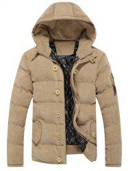 Button Embellished Hooded Suede Padded Coat -