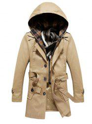 Buttoned Detachable Hooded Belted Coat - KHAKI