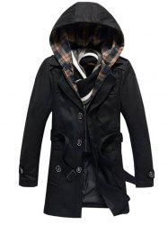 Buttoned Detachable Hooded Belted Coat - BLACK