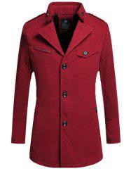 Single Breasted Turn Down Collar Woolen Coat -