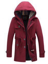 Belted Plush Fleece Hooded Woolen Tweed Coat -