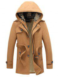 Belted Plush Fleece Hooded Woolen Tweed Coat