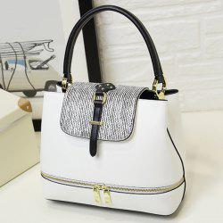 Zip Embellished PU Leather Stripes Handbag