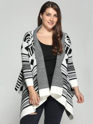 Plus Size Geometric Pattern Irregular Cardigan - COLORMIX