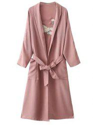 Floral Embroidered Side Slit Belted Maxi Long Duster Coat - PINK