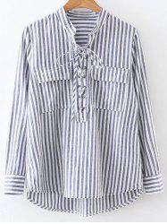Stand Neck Striped Lace Up Front Shirt -