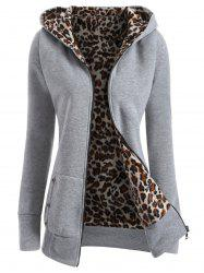 Zipper Fly Thicken Leopard Pattern Hoodie - LIGHT GRAY M