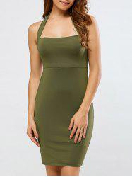 Backless Halter Club Sheath Dress - ARMY GREEN