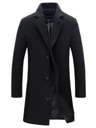 Single-Breasted Lapel Slim Woolen Coat - BLACK