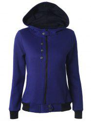 Casual Buttoned Long Sleeve Zipper Up Dark Blue Hoodie