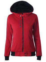 Casual Buttoned Long Sleeve Zipper Up Hoodie - DEEP RED