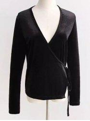 V Neck Velour Wrap Top
