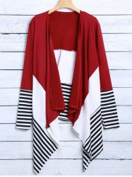 Striped Asymmetric Cardigan - RED