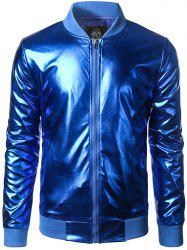 Stand Collar Zip-Up Metallic Bomber Jacket