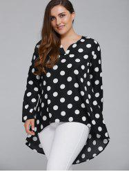 Plus Size Polka Dot High Low Blouse - Blanc Et Noir