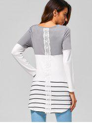 Striped Lace Panel Long Sleeve T-Shirt