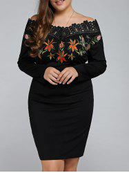 Plus Size Embroidered Off The Shoulder Sheath Dress - BLACK