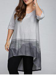 Plus Size 3/4 Sleeve Printed High Low T-Shirt - GRAY