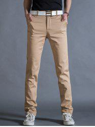 Straight Leg Mock Pocket Casual Chino Pants - KHAKI 32