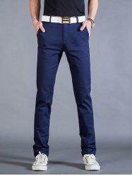 Straight Leg Mock Pocket Casual Chino Pants - CADETBLUE