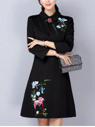 Bowknot Bird Embroidery Woolen Swing Dress