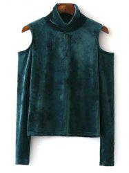High Neck Cold Shoulder Velour Top