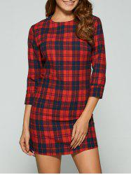 Casual 3/4 Sleeve Plaid Mini Dress - RED XL